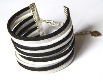 Kit DIY creative black, white, silver cuff bracelet suede