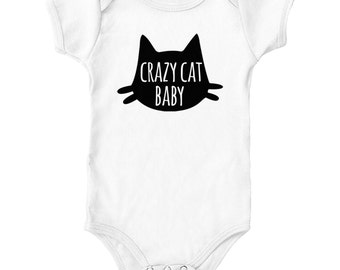Crazy Cat Baby Onesie Grows Rompers Shirt | Gifts for Newborns | Baby Shower Gifts | Pregnancy Gifts