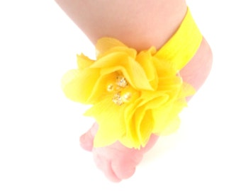 Yellow Baby Barefoot Sandals - Baby Photo Prop