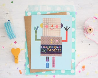 Congratulations Big Brother Robot, Sister, Love, New Baby, Baby Shower, Kids, Stationery, Happy Day, Best Brother, Illustrations