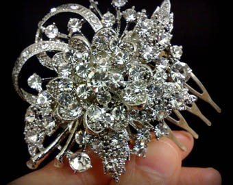 Vines Bridal Hair Comb, Gold or Silver Wedding Hair Comb, Flower Hair Comb, Bridal Hair Jewelry, Swarovski Crystal Bridal Headpiece, BOUQUET
