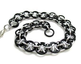 Black Helm Chainmaille Bracelet - Black Chain Maille Bracelet - Chain Bracelet