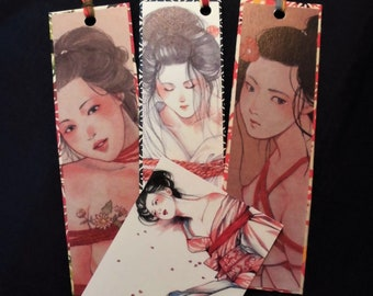 "Japanese Erotic Art ""Kinbaku"" 3 Bookmarks&1MiniCard  ""紅い縄"""