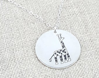 Personalized Gift - Mother's Day Personalized Your Childs Art Gift - Kids Drawing Necklace - Mom - Personalized Jewelry - Custom Handwriting