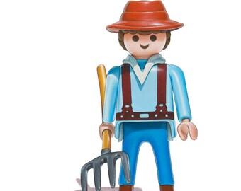 Toy Art, Playmobil Farmer 5 x 7 Fine Art Print
