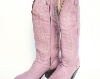 Abilene Pink Vintage Cowgirl Boots Size 6 ADORABLE