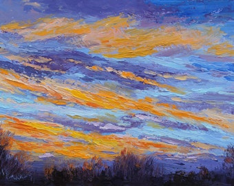"""Original sunrise landscape painting, Palette Knife Oil Painting """"New Day"""" Provence Impressionist sky painting, by Marion Hedger, 10x12inch"""
