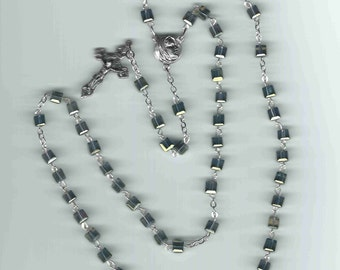 Handmade Rosary in Silver Square Crystal FREE USA Shipping