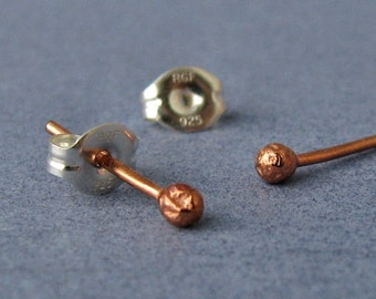Copper Post Earrings, Tiny Bud Studs, Handmade Artisan Jewelry, 2 pairs