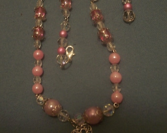 Here pretty Pink Necklace with silver heart