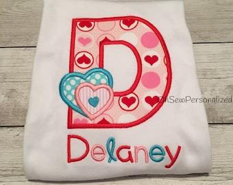 Valentine Shirts For Girl - Valentines Day Shirts For Girls - Valentine Shirts For Kids - Heart Alpha Shirt - Personalized Valentine Shirt