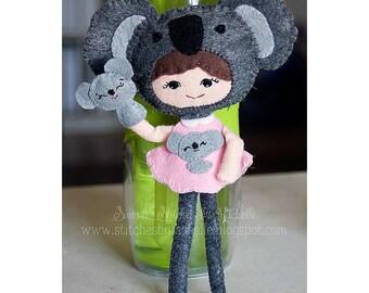CUSTOM Koala Handmade Miniature Posable Felt Doll - Custom Doll - Felt Doll - Noialand Doll - Koala Doll - Koala