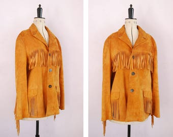 Vintage 1950s Tan suede leather fringed jacket - Western fringed leather jacket - Suede leather fringe jacket - Suede leather jacket