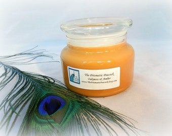 Oakmoss & Amber Soy Candle - Highly Scented - 12 oz Apothecary Jar - Gold