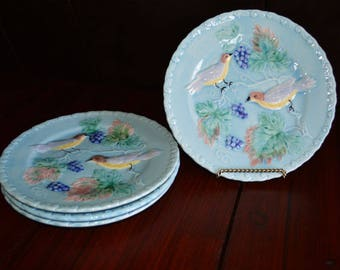"German Majolica 7.25"" Blue Bird and Grape Plates - Set of 4"