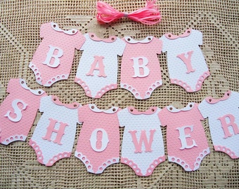 Bunting Flags Banners Garland Onesies BABY SHOWER Pink White girl DIY