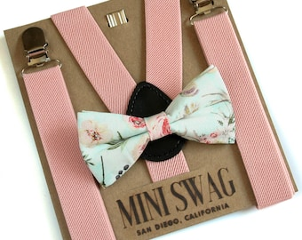Blush Pink Wedding Suspenders, Boho Wedding Bow Tie, Toddler Suspenders, Ring Bearer Outfit, Baby Suspenders and Bow Tie, Cake Smash Outfit
