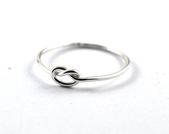 Knot ring -  silver skinny ring -  love knot -  simple knot ring -  bridesmaid silver knot ring