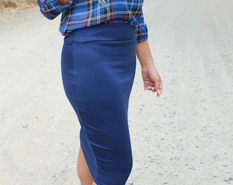 SALE Navy Blue Fitted Ponte Pencil Skirt, Blue Midi Skirt