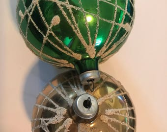 Vintage ornaments, green and gold ornaments, Christmas tree ornaments