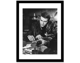 Black and white photo of Steve McQueen
