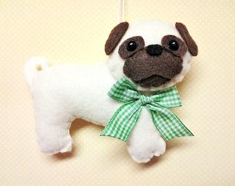 felt pug ornament personalized ornament pug christmas ornament pug gift felt dog