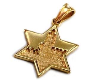 Jerusalem 14k Gold Star of David Pendant