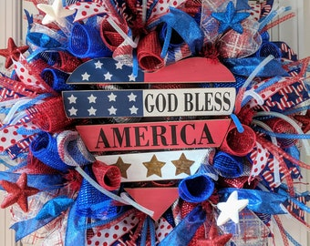 Patriotic deco mesh wreath, memorial day wreath, 4th of July wreath, red white and blue wreath, decor for your front door, patriotic decor