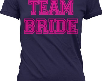 Pink Team Bride, Bachelorette Party, Wedding Juniors T-shirt, NOFO_00364
