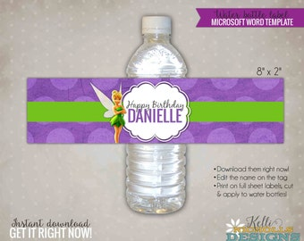 Tinkerbell Water Bottle Label Template, Tinkerbell Girl's Birthday Party Decoration, Instant Download #B133