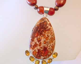 Orange Turquoise Necklace, With Citrine -  Real Jade Beads - Sterling Pendant - One Of A Kind