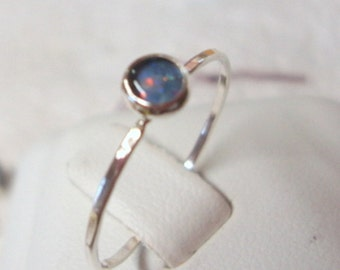 Ring Opal in  eco-friendly recycled sterling silver Custom made in your size -4mm, 5mm, 6mm or 7mm stacker, Fair Trade natural opal triplet