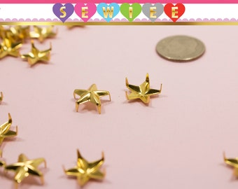 12mm Gold Five Edge Star Studs|Star Studs|Nailhead Studs|Spikes|Rivets|Gold stars|Specialty Nailhead| Nautical Stars V100