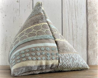 Fabric Doorstop, Doorstopper in Sage Green, Brown & Gold Striped Fabric, Triangular, Pyramid Shape
