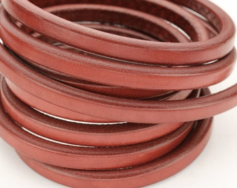 Tomato Red - Licorice Leather - 10x 6mm Thick Leather Cord 8""