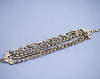 Multi Strand Gold Chain Bracelet Link Gold Chain Five Strand Chain Bracelet N24