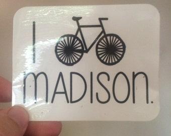 I bike madison sticker