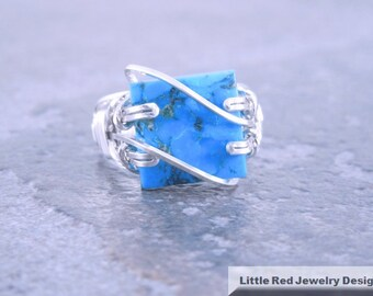 Turquoise Sterling Silver Wire Ring