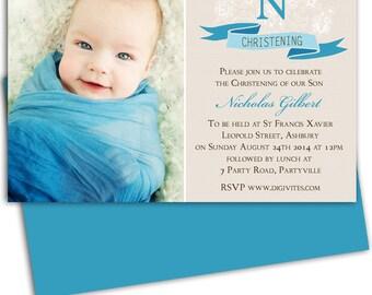 Boy Photo Christening Invitation/Baptism Invitation/Naming Day/Personalized  Invitation/Photo Invitation