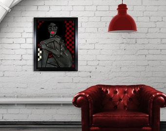 Original acrylic painting  woman/checkerboard