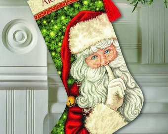 "Counted Cross Stitch CHRISTMAS Stocking SECRET Santa Dimensions Kit 16"" Long -Free US Shipping!!!"