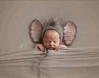 Crochet Elephant Bonnet, Newborn Photo Prop, Newborn Photography, Newborn Animal Bonnet, Safari Prop, Crochet Photo Prop, Infant Accessories