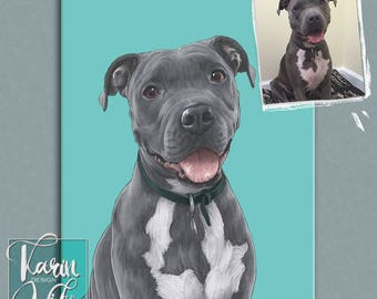 Pet family portraits. Custom dog portrait. Pet portraits. Custom portrait from photo. Custom drawing. Dog. Animals. Gift for.