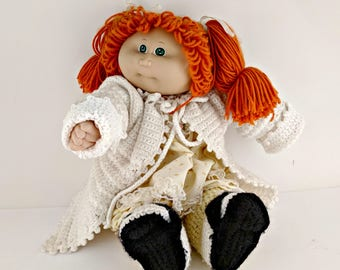 Vintage Cabbage Patch Doll with Original Outfit plus Crocheted Sweater and Booties - Great Condition