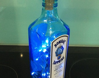 Bombay Sapphire Dry Gin Bottle with Lights Table centre piece Weddings, Birthdays, Mancave, WomanCave