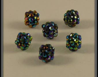 set of 6 blue holographic 12mm shamballa beads
