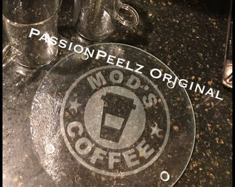 Custom etched coffee trivet, Cutting board, diabeties, Mod Squad Coffee, T1D
