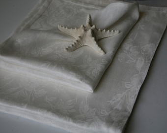 Pure Linen White Damask Towel With Rose Design/ Bath Towel/Beach Towel/Set of Two