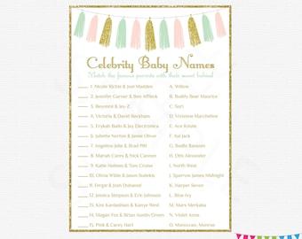 Pink Mint Gold Tassels, Celebrity Baby Name Game, Baby Shower Printables, Girl Baby Shower Games, Gold Glitter, Instant Download, TASPMG