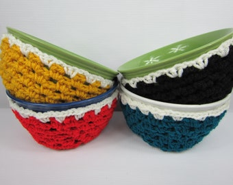Soup Bowl Cozy, kitchen item, housewarming gift, Cereal bowl cozy, crochet soup bowl sleeve, teal yellow black red white, handmade gifts